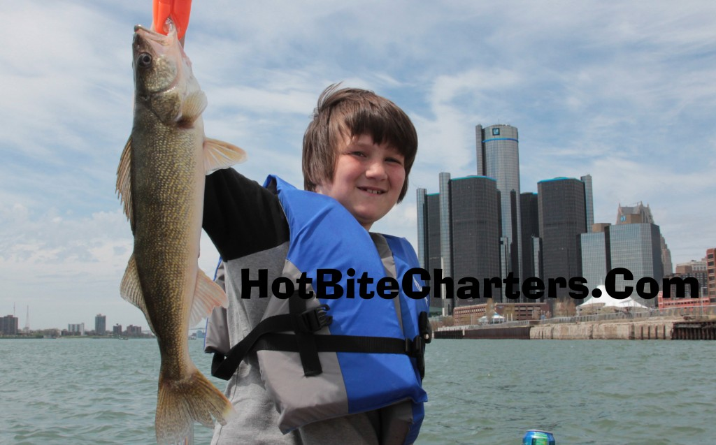 Justus caught a nice Detroit River walleye